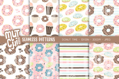 Donut Time Seamless Patterns