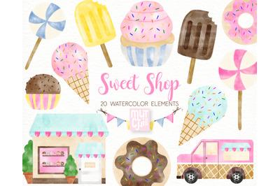 Watercolor Sweet Shop Clipart Set