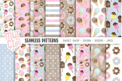 Watercolor Sweet Shop Pattern Set