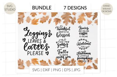 Autumn quotes svg bundle, thanksgiving svg hand lettering bundle, fall