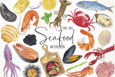 Watercolor Seafood Clipart, Fish Clipart, Ocean Clipart, Food Clipart