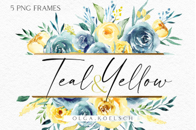 Boho roses teal clipart, Watercolor turquoise frames png, Wedding
