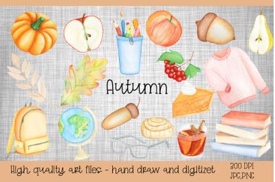 Watercolor clipart Autumn.Illustration Back to School.Sub