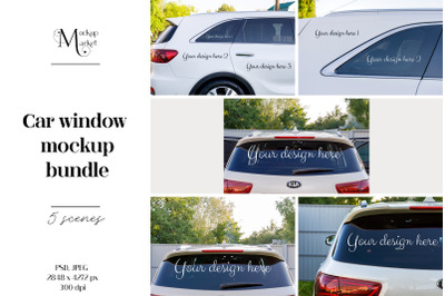Car mockup bundle. Car window mockup bundle.