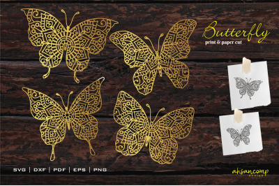 Butterfly Mandala Vector, Paper Cut