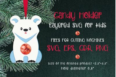 Polar Bear Christmas Ornament Candy Holder Template SVG