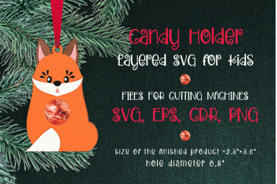 Red Fox Christmas Ornament Candy Holder Template SVG