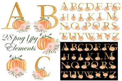 Alphabet. Pumpkin. Wedding. Halloween. Fall. Flower.
