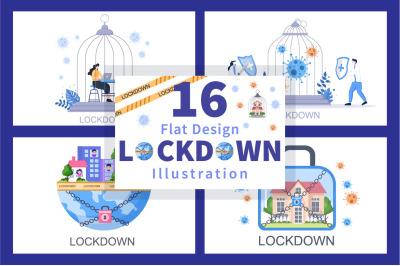 16 Lockdown COVID-19 Coronavirus Illustration