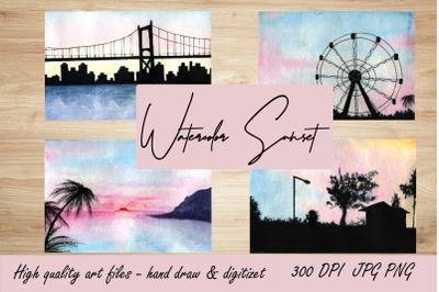 Watercolor Sunset illustration.Background Landscape.Travel