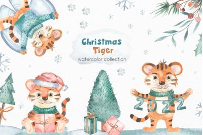 Christmas Tigers Watercolor