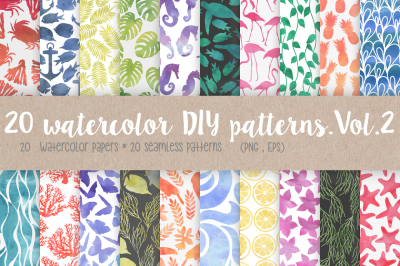 20 Watercolor DIY Patterns. Vol.2