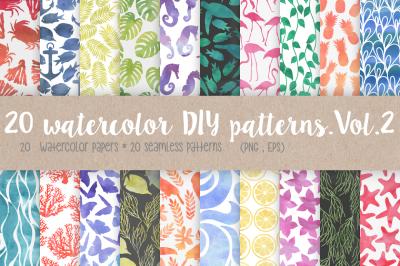 20 Watercolor DIY Patterns. Vol.2