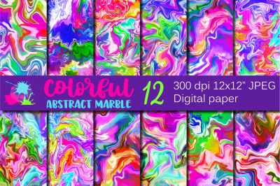 Colorful Abstract Marble Digital Paper / Rainbow Backgrounds