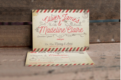 Vintage Airmail Wedding Invitation