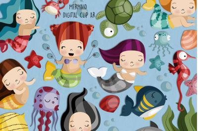 Mermaid SVG Clipart   Set of 25
