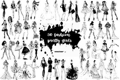 50 fashion pretty girls illustrations