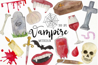 Watercolor Vampire Clipart, Gothic Clipart, Halloween Clipart, Blood