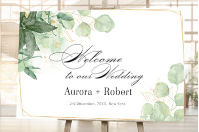 Wedding Welcome Sign Signage Template Greenery Welcome Sign
