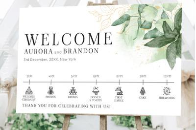 Wedding Welcome Sign Timeline Signage Template