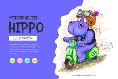 Cartoon hippo motorcyclist
