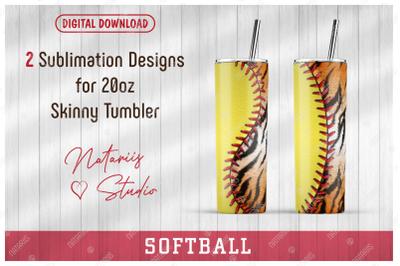 2 Softball / Tiger print Patterns for 20oz SKINNY TUMBLER.