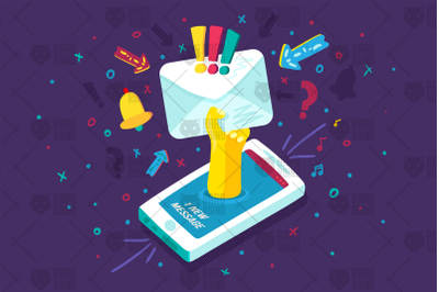 Mobile Device Notification Illustration