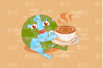 Coffee Time At Planet Earth Illustration