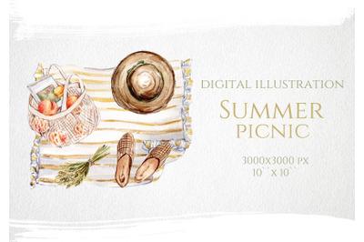 Watercolor Summer Picnic Illustration