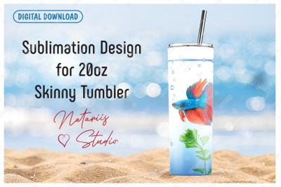 Aquarium fish Seamless Pattern for 20oz SKINNY TUMBLER.