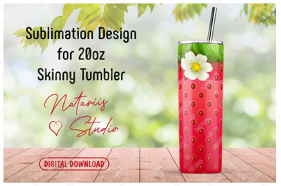 Realistic Strawberry Pattern for 20oz SKINNY TUMBLER.