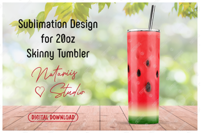 Realistic Watermelon Pattern for 20oz SKINNY TUMBLER.