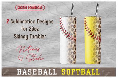 2 Baseball Softball Leopard Patterns for 20oz SKINNY TUMBLER