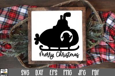 Santa Submarine SVG File - Merry Christmas SVG File