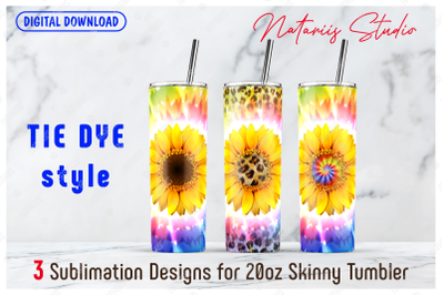 3 Sunflower Tie Dye Seamless patterns - 20oz SKINNY TUMBLER