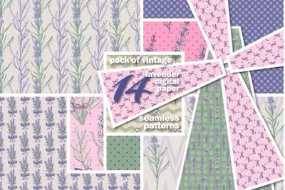 Lavender vintage seamless patterns