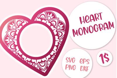 Heart Monogram SVG cut file