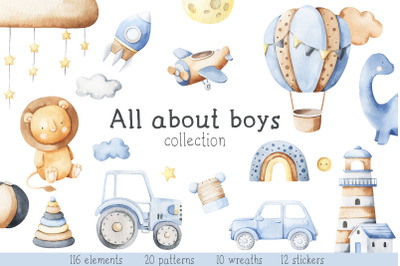 All about boys - watercolor set