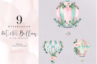 Watercolor Hot Air Balloon With Peony, Valentine, Romantic, Clipart