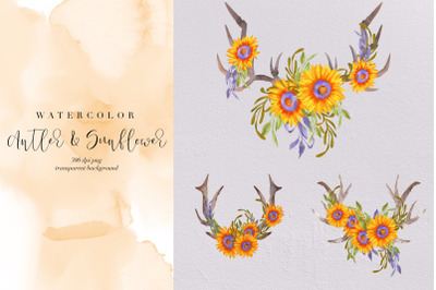 3 Watercolor Antler & Sunflowers, Summer Boho, Wild Flowers, Clipart
