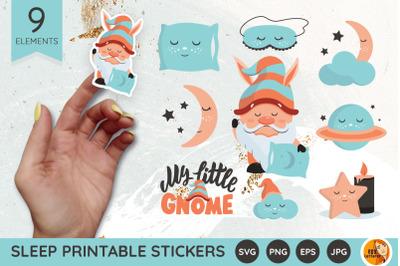 Sleepy gnome. Sleep printable stickers