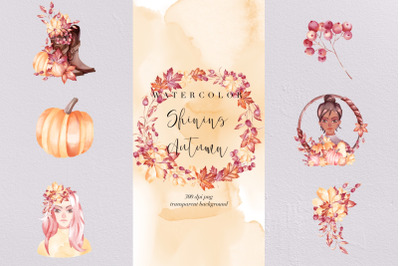 Autumn Collection Watercolor Clipart, Transparent PNG, Fall, Clipart