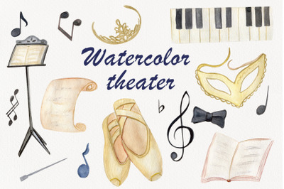 Watercolor theater clipart, Music notes png, School clipar