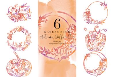 6 Watercolor Autumn Silhouettes, Fall Pumpkin Transparent PNG, Clipart