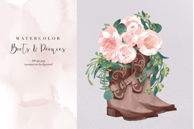 Boots And Peonies PNG, Southern Flowers Water Color, Cowgirl, Clipart