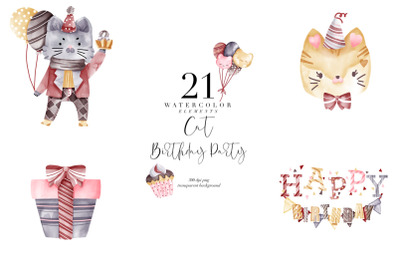 Watercolor Birthday Cats, Birthday Party, Cat Transparent PNG, Clipart