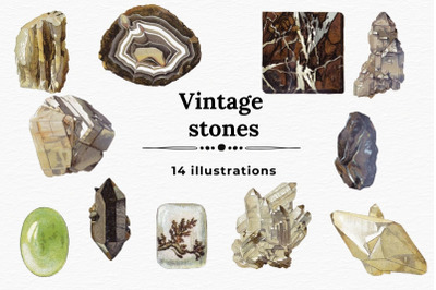 Vintage Stones Illustrations, Minerals And Crystals Clipart