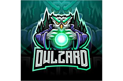 Owl wizard esport mascot logo