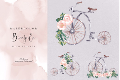 Watercolor Vintage Bicycle With Peonies, Transparent PNG, Clipart