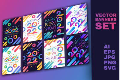 Modern Happy New 2022 Year Banners Set